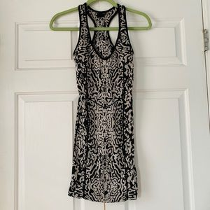 Bebe Black & White Bodycon Racerback Dress Sz Sm